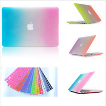 for Apple Macbook Pro 13''15''with retina disply 13'' 15''Rainbow Matte Rubberized notebook laptop Hard Case Cover keyboard