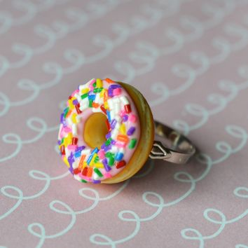 Strawberry Pink Doughnut With Rainbow Sprinkles Adjustable Ring, Polymer Clay