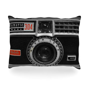 "Robin Dickinson ""Instamatic Red"" Black Gray Oblong Pillow"