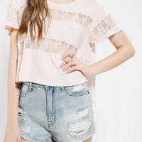 Colorfast Lace-Stripe Tee