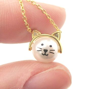 Adorable Kitty Cat Face Shaped Pearl Pendant Necklace in Gold | DOTOLY