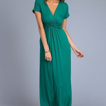 Solid Short Sleeve Maxi Dress - Green