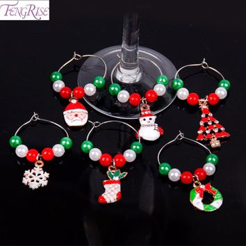 FENGRISE 6pcs Mixed Wine Charms Red Green Beads Christmas Tree Ornaments Pendant Dinner Table Decoration Christmas Accessories