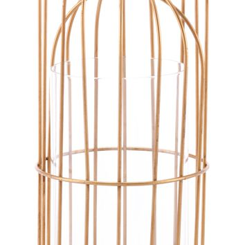 A10561 Birdcage Candle Holder Sm Gold