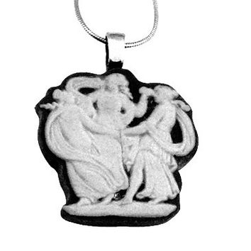 Wedgwood Jewelry,  Pendant Dance Necklace, TheThree Graces, Goddess Necklace, Black and White, 3 Sisters, Mothers Day Gift for Mom