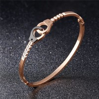 Women Handcuff Bracelets & Bangles Luxury Rose Gold Stainless Steel Jewelry 165MM Bracelets for Women Charms Gift