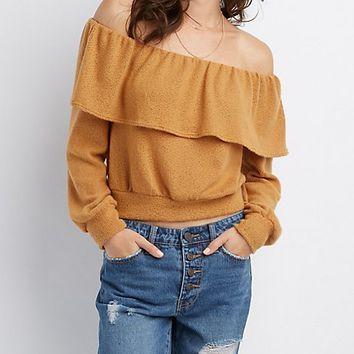 Ruffle-Trim Off-The-Shoulder Skimmer Top | Charlotte Russe