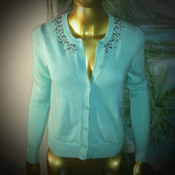 Jeweled, Beaded Mint Green Soft Cardigan Sweater (Ann Taylor Loft)