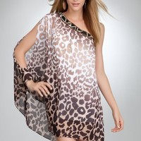 bebe One Shoulder Beaded Print Dress -Web Exclusive Spcl Events/eve Dresses Tsavo Cheetah 3-s