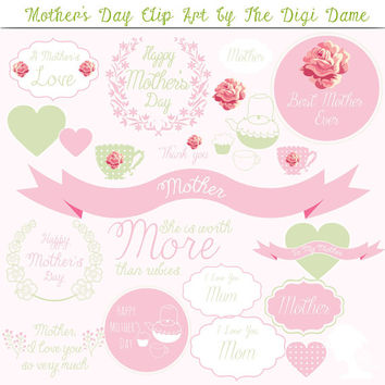 Digital Scrapbooking Elements/Clip Art: Mother's Day with Roses, Hearts and Teacups in Pastel Pink and Green with White