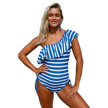 Blue White Stripes Ruffle One Piece Swimsuit