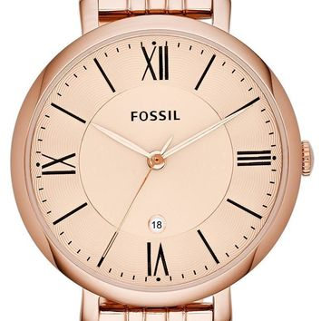 Fossil Jacqueline Rose Gold-Tone Analog ES3435 Women's Watch