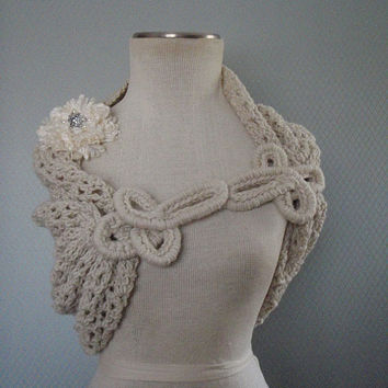 Bolero off white, Bridesmaid Shawl, Wrap, Cape, Wedding Shawl,Bridal Shrug, Shawl , Bridal Bolero, Crochet Shawl, Capelet