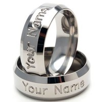 Titanium Ring 8mm PERSONALIZED NAME Rings, Titanium Band Ring Sz 4-17