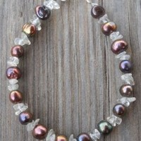 Fresh Water Pearl Quartz Steel Cord Bracelet Fresh Water Pearls 6-7mm Bronze Colored By Laser Method Quartz Stones Special Steel Cord 925 Sterling Silver Spring Ring,seed Beads 17cm Long Handmade,brand New