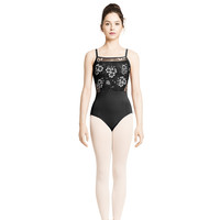 Adult Floral Printed Mesh Camisole Leotard With Side Cut Out M2137LM Black, ACS (Light Grey Blue)