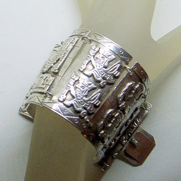 Vintage Wide Sterling Aztec Bracelet - Pure Peruvian Silver - 6-6.5 Wrist - 2 Inches Tall-Mayan Images - Lovely Condition - Signed