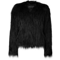 RACHEL ZOE Black Vintage Faux Fur Brooklyn Jacket