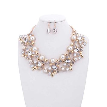 Pearl, Gold and Crystal Bridal Necklace & Earrings Set