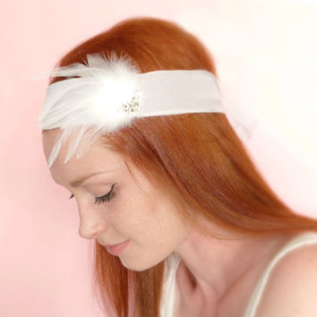 White bridal feather headband with Swarovski rhinestones