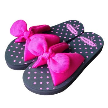 Sweet Summer Bow Bowtie Butterfly Dot EVA Beach Home Women Flat  Slipper Female Sandals Blue Red Yellow Green Large Size S M L