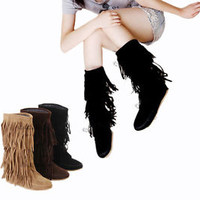 Hot Women's Mid-Calf Tassels Boots Flat Heel Shoes Fringes US All Size YB621