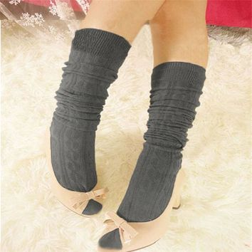 New Fashion  1 Pair New Cotton Women Knit Over Knee Thigh Spiral Pattern High Socks