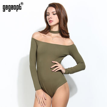 Gagaopt 2017 Halter Bodysuit Women 95% Cotton Off Shoulder Longsleeve Autumn Elegant Romper Women Jumpsuit Playsuit Sexy Overall
