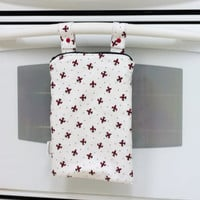 Kitchen Wet Bag, Red and Black Fleur De Lis Wetbag, Unpaper Towel Bag, Laundry Bag, Hanging Wet Bag, Waterproof Kitchen Towel Bag