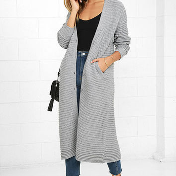 The Fifth Label Game Changer Grey Long Cardigan Sweater