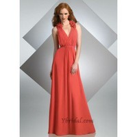 A-Line V-Halter Floor-Length Satin Prom Dress SAL1089