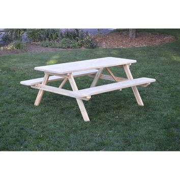 "A & L Furniture Co. Pressure Treated Pine 6' Table w/Attached Benches - Specify for FREE 2"" Umbrella Hole  - Ships FREE in 5-7 Business days"