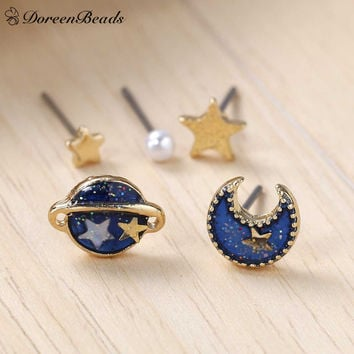 DoreenBeads 2016 Summer Deep Blue Five Point Star Moon Planet Stud Earrings Gold Plated Trendy Funny 11x8mm-3mm 1Set (5 Pieces)