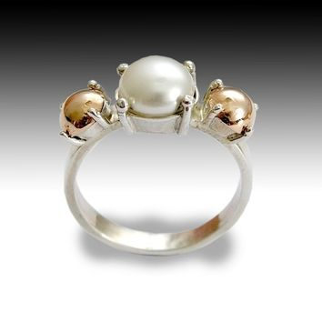 Sterling silver and rose gold ring set June birthstone freshwater pearl - Dreamer.