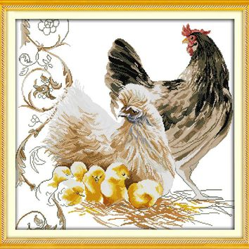 Chicken Family Cotton Animalr DMC Cross Stitch Kits Canvas 11CT Accurate Printed Embroidery DIY Handmade Needle Work Home Decor