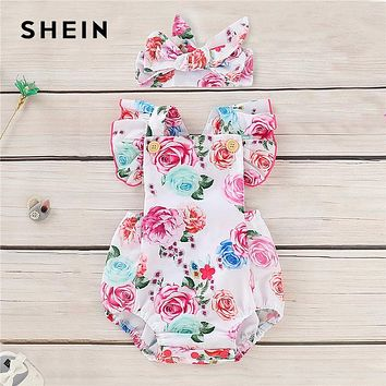 SHEIN Kiddie Toddler Girl Baby Floral Print Ruffle Straps Jumpsuit With Headband 2019 Summer Newborn BabyShort Jumpsuits