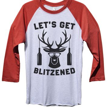 Let's Get Blitzened Funny Christmas - Unisex Baseball Tee Mens And Womens