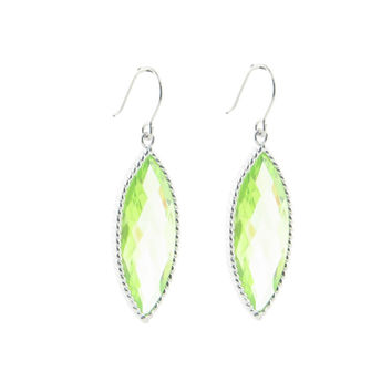 Fronay Collection Light Green Marquise Jewellery Earrings in .925 Sterling Silver