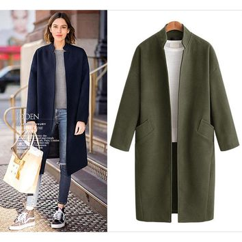 Women New Fashion Winter Wool Fabric Coat Loose Casual Stand Collar Long Solid Color Coat