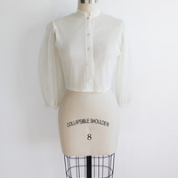 Vintage 50s Sheer Chiffon 3/4 Pintuck Blouse | small