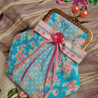 Emma handmade coin purse in pretty pink and blue