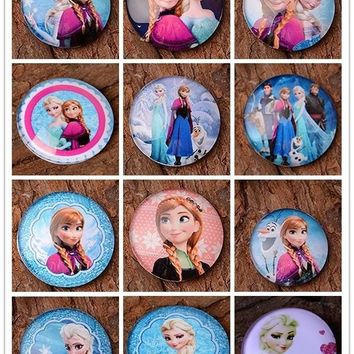 25mm Princess Elsa Anna Flatback Photo Glass Cabochon Beads for Bottle Cap Necklace Jewelry 30pcs/lot