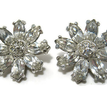 Vintage Rhinestone Earrings Silver Tone Clip on Back Ballou Flower Floral Mid Century Womens Formal Glitz Glam Bling Sparkle Gift