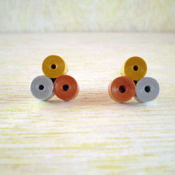 Bronze Gold Silver Paper Stud Earrings Minimal Recycled Paper Jewelry Eco-Friendly  / Σκουλαρίκια από χαρτί