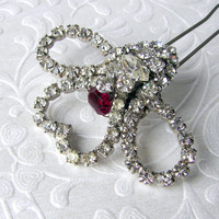 Valentines Bride Heart Wedding Hair Comb Red Rhinestone Jeweled Hairpiece Vintage Jewelry Hairpin