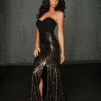Black and Gold Sequin Evening Gown/Prom Dress Size 2 Night Moves (6034)