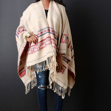 Native Tribe Fringe Hem Open Front Poncho