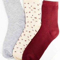 Kimchi Blue Thermal Floral Crew Sock Multi-Pack- Red Multi One