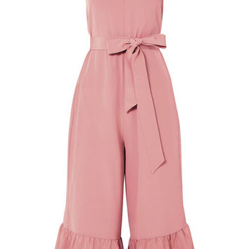 Tibi - Ruffled silk crepe de chine jumpsuit