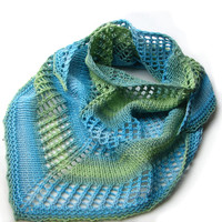 Blue and green cotton shawlette, triangular scarf for women and girls or boys READY TO SHIP
